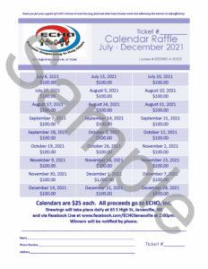 Sample 2021 Calendar Raffle ticket